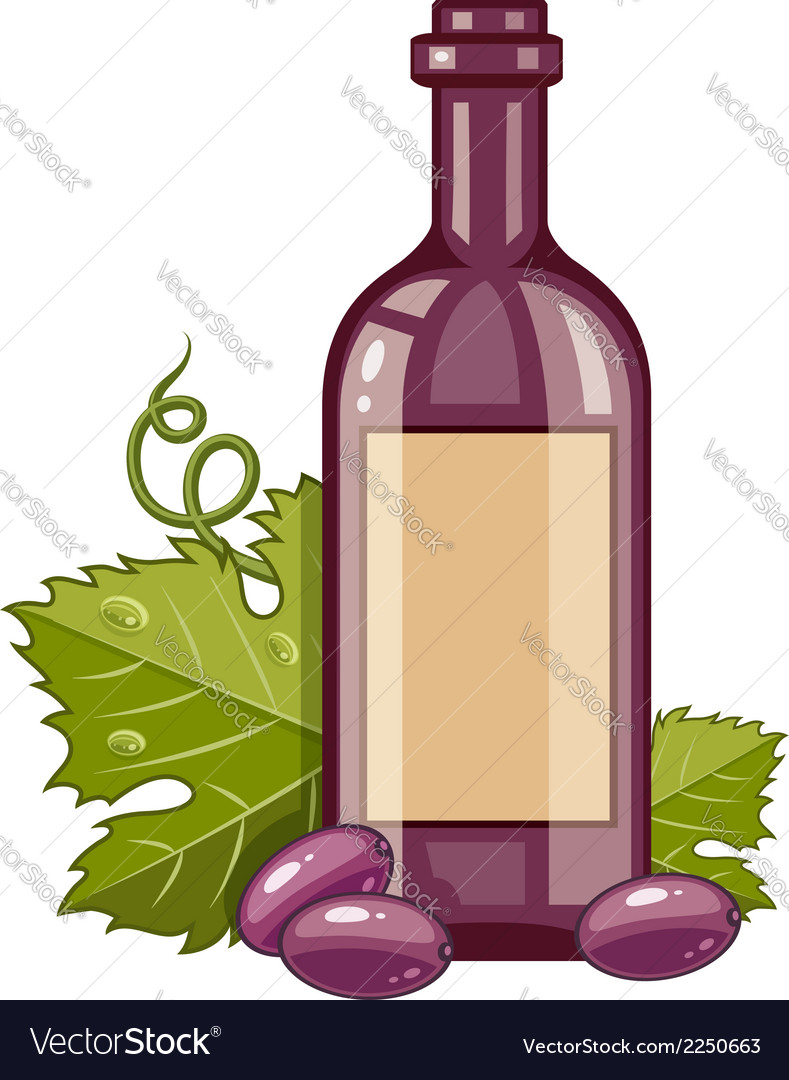 Red wine bottle with grapes vector | Price: 1 Credit (USD $1)
