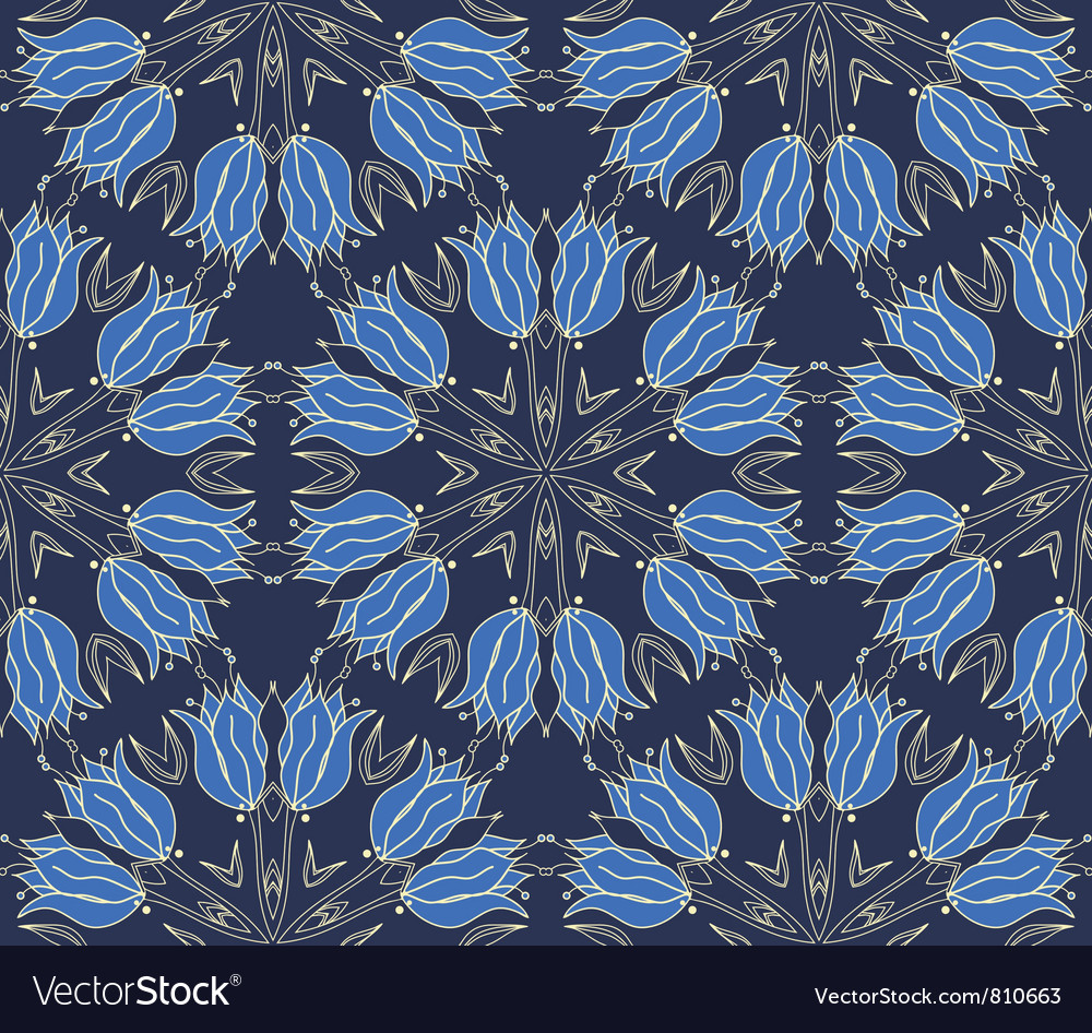 Seamless wallpaper with floral ornament vector | Price: 1 Credit (USD $1)