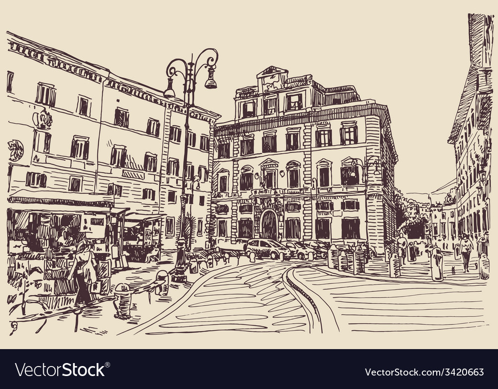 Sketch hand drawing of rome italy famous cityscape vector | Price: 3 Credit (USD $3)