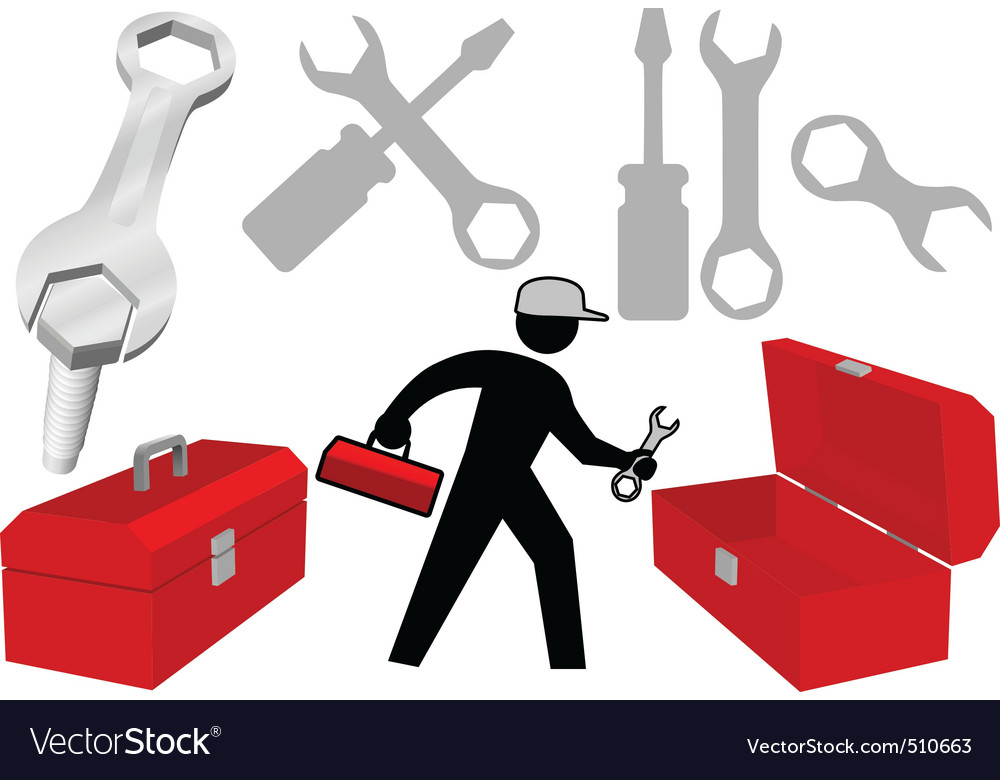 Tool set repair work person objects icons vector | Price: 1 Credit (USD $1)