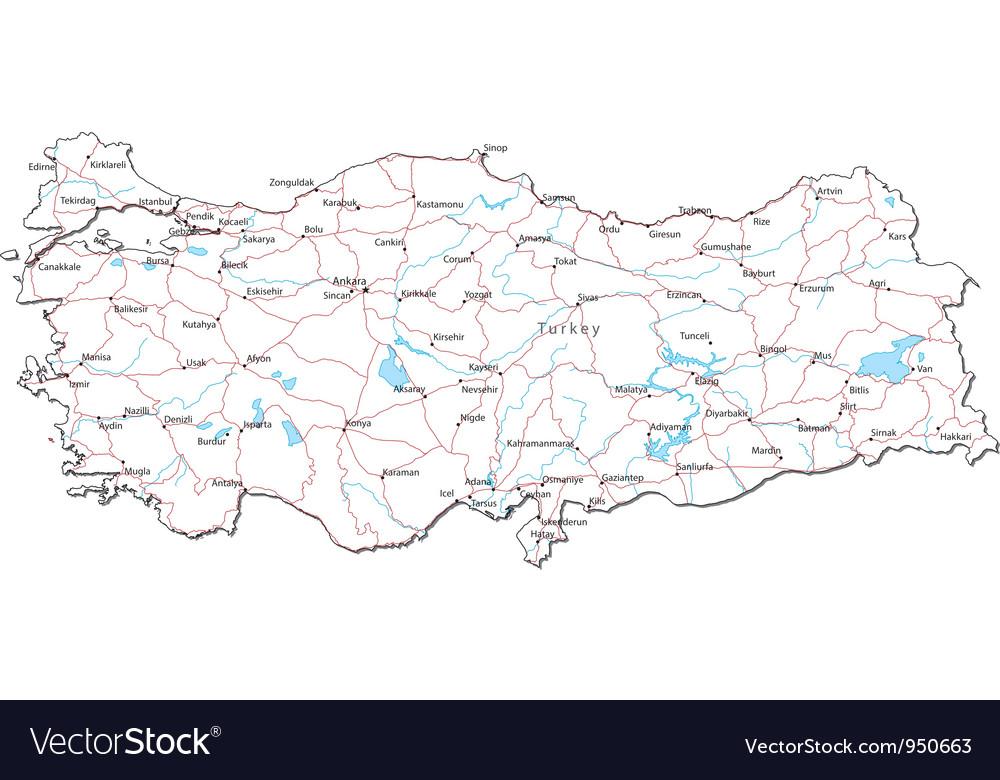 Turkey black white map vector | Price: 1 Credit (USD $1)
