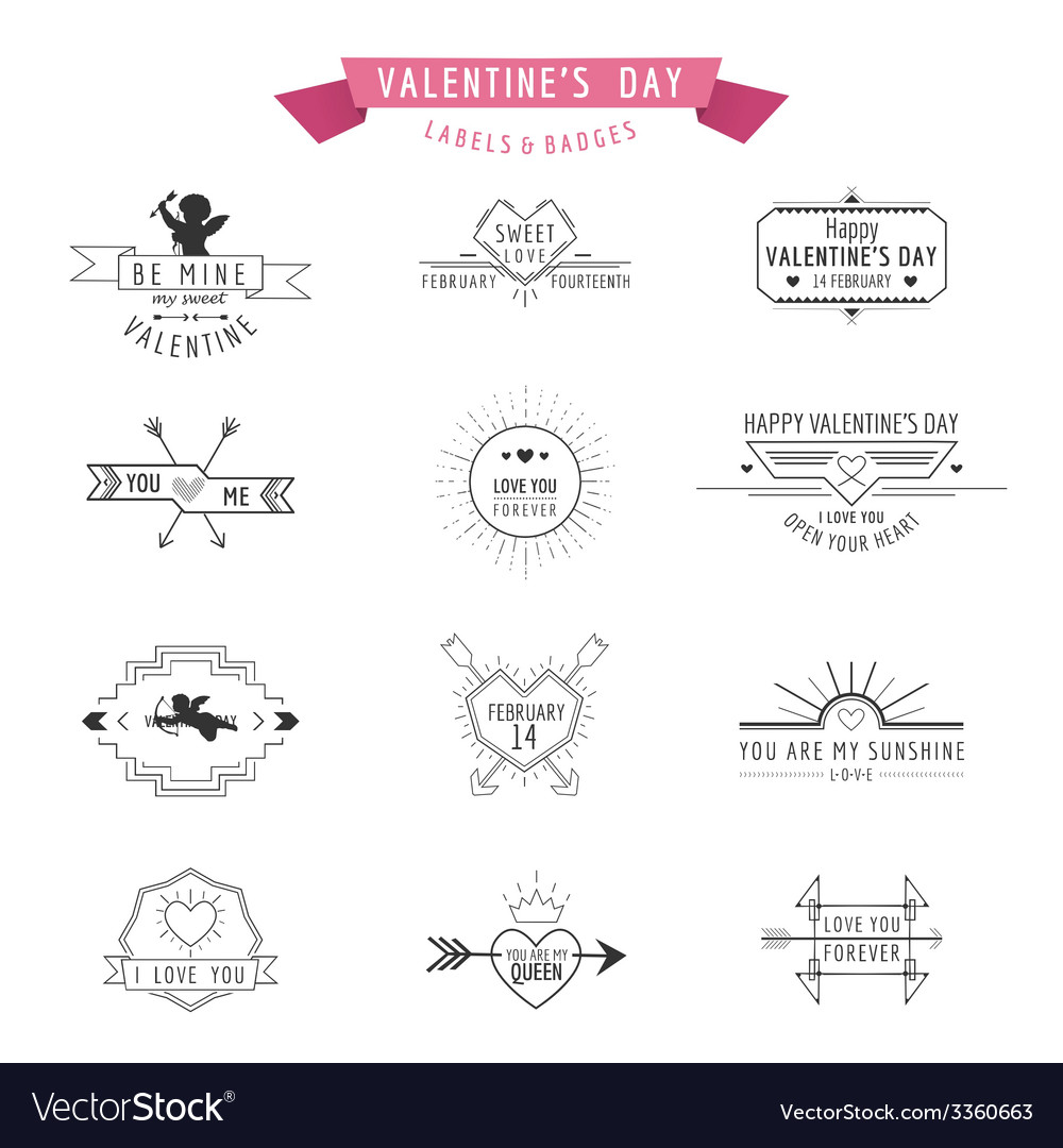 Valentines day - set of badges and labels vector | Price: 1 Credit (USD $1)