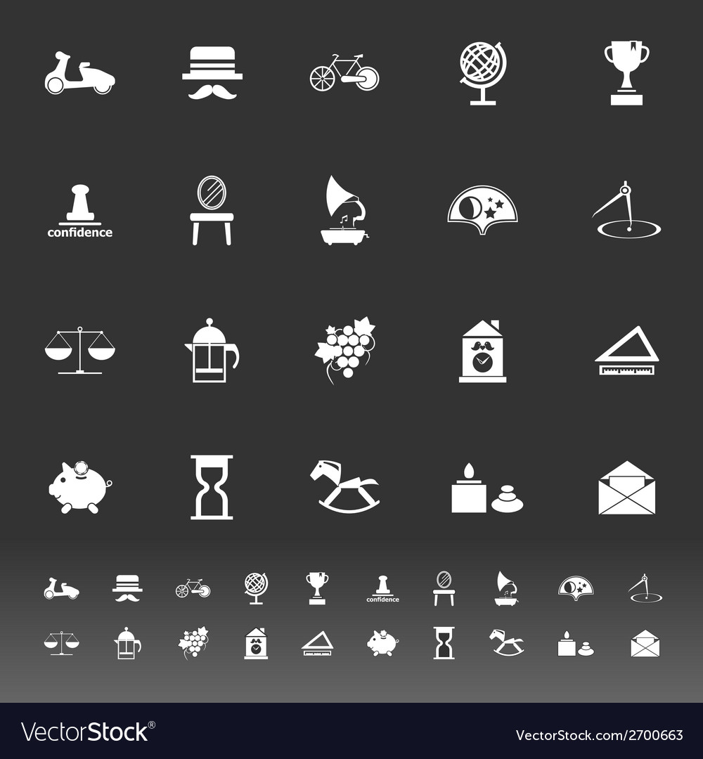 Vintage item icons on gray background vector | Price: 1 Credit (USD $1)