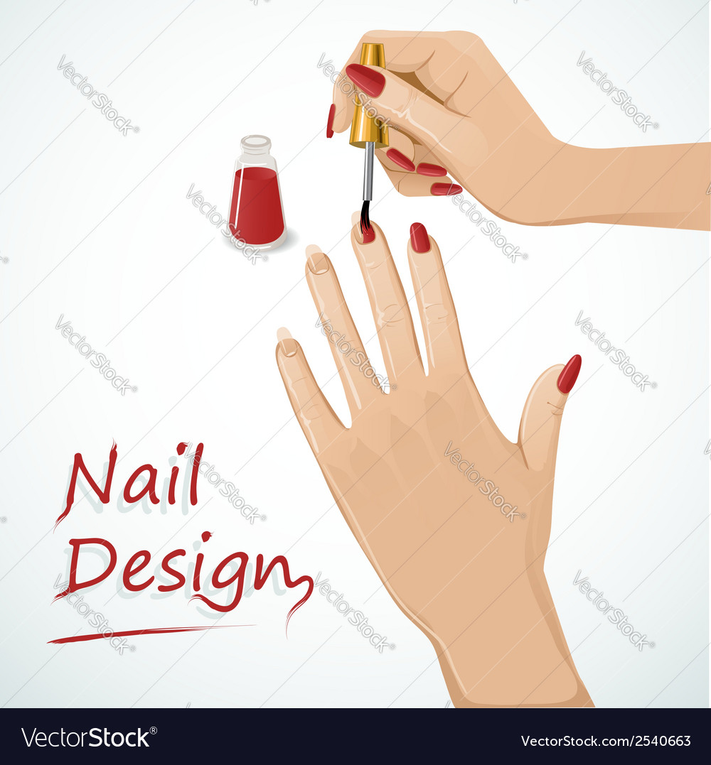 Woman hands putting a varnish on nails vector