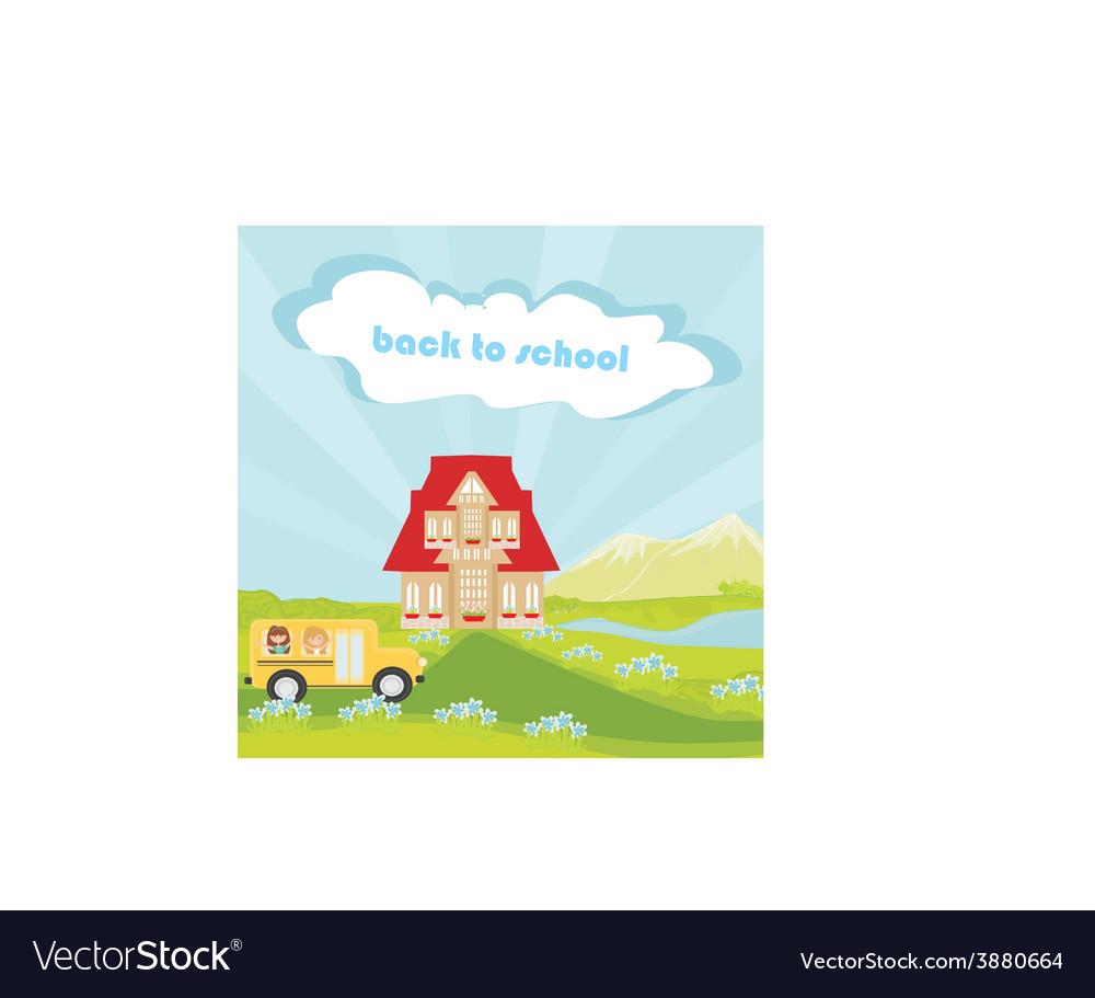 A school bus heading to school with happy childr vector | Price: 1 Credit (USD $1)