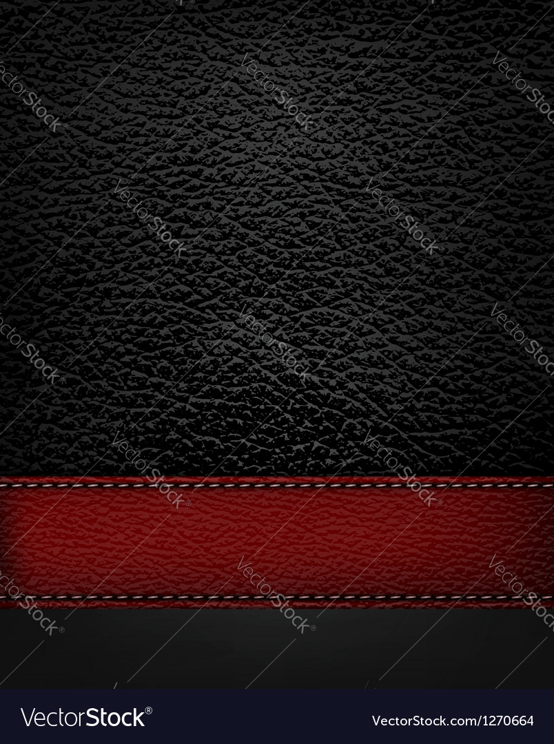 Black leather background with red leather strip vector | Price: 1 Credit (USD $1)