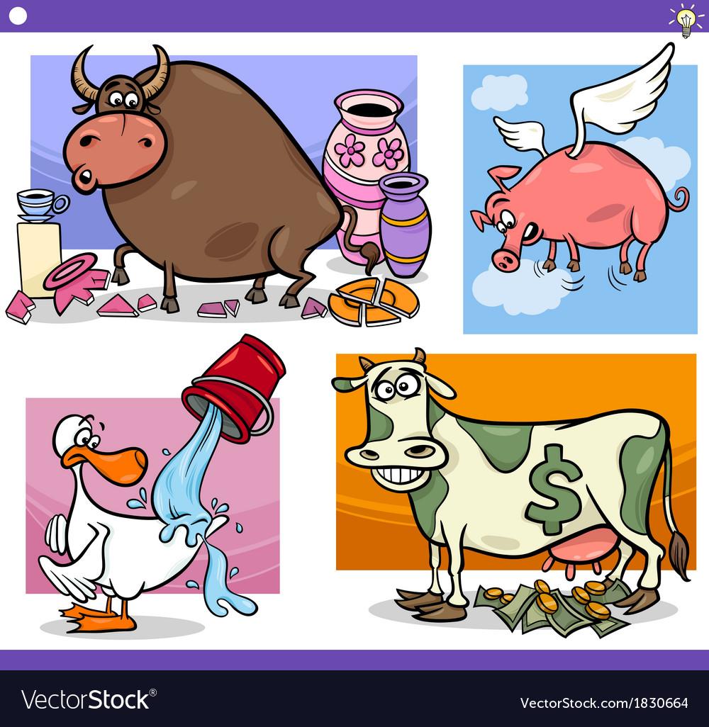 Cartoon sayings or proverbs concepts set vector