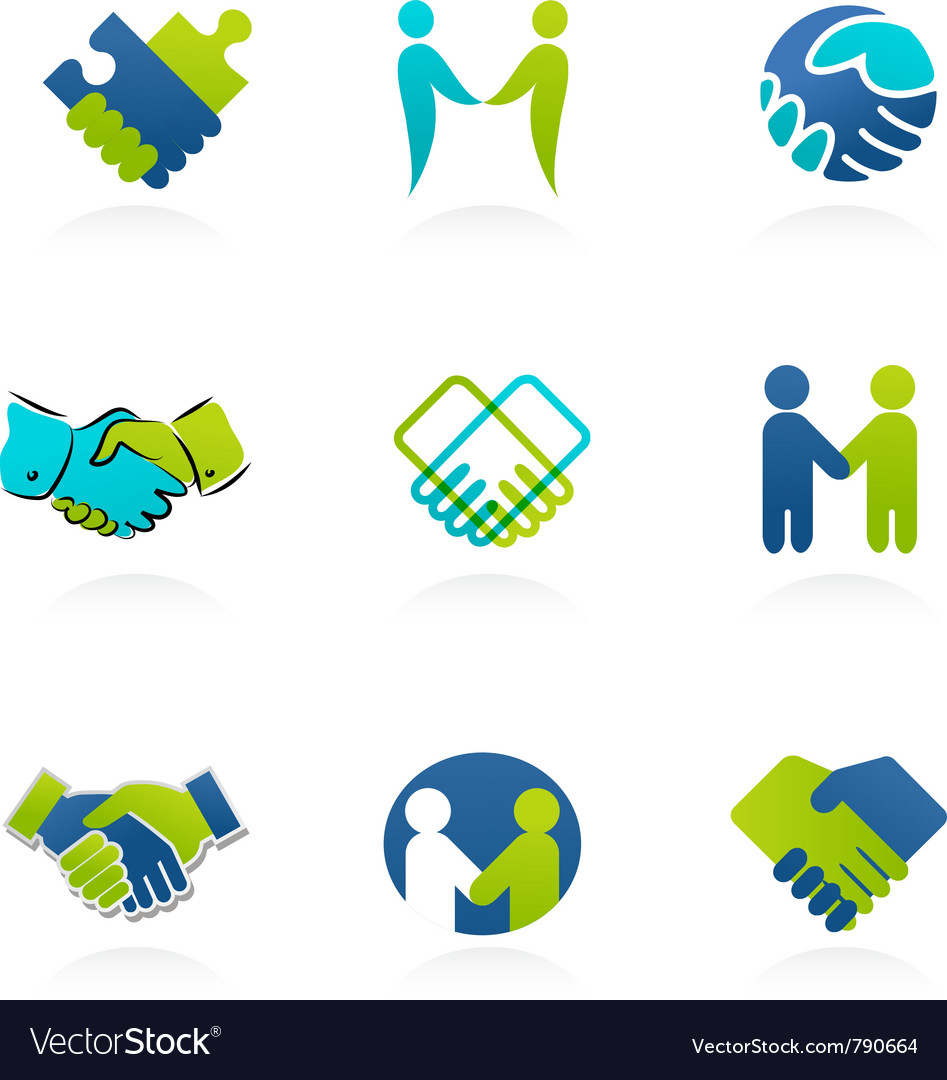 Collection of handshake icons and elements vector | Price: 1 Credit (USD $1)