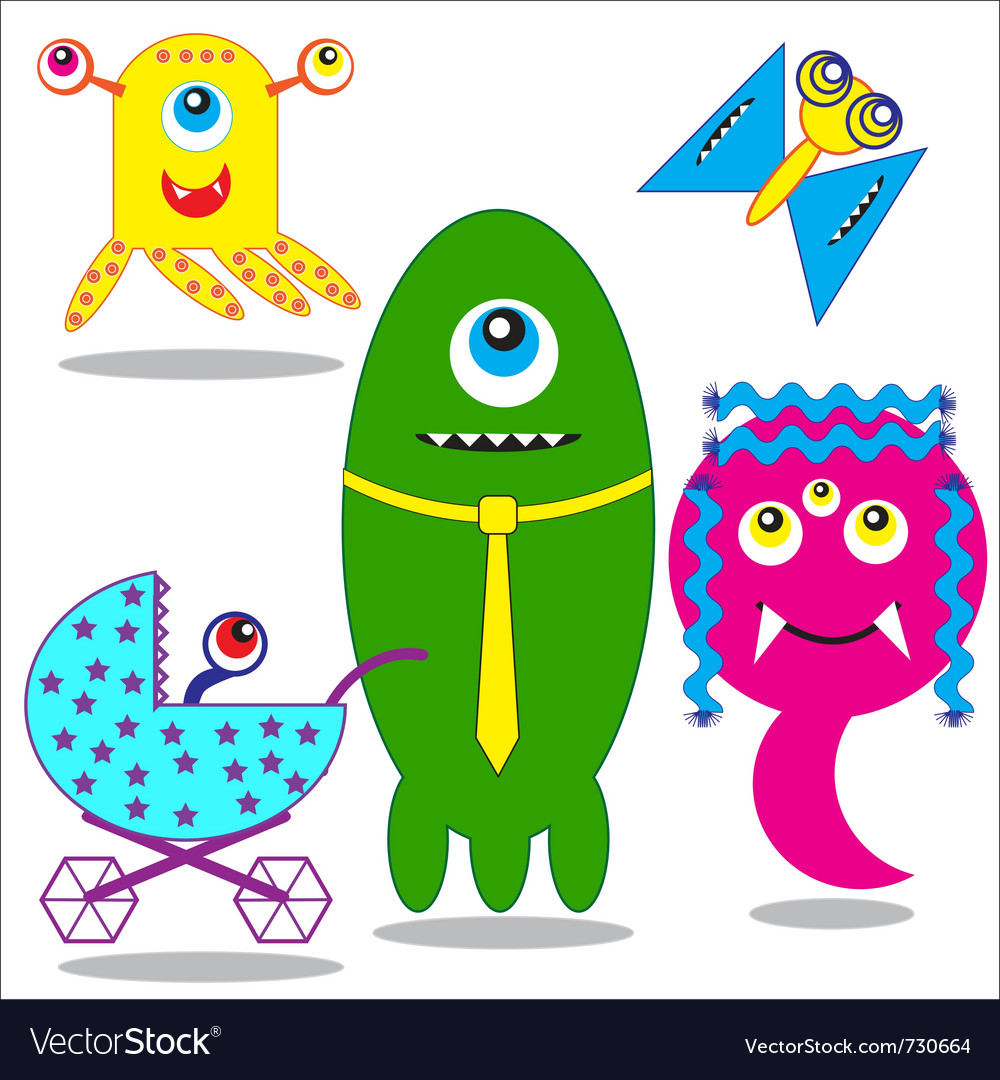 Cute funny monsters family vector | Price: 1 Credit (USD $1)