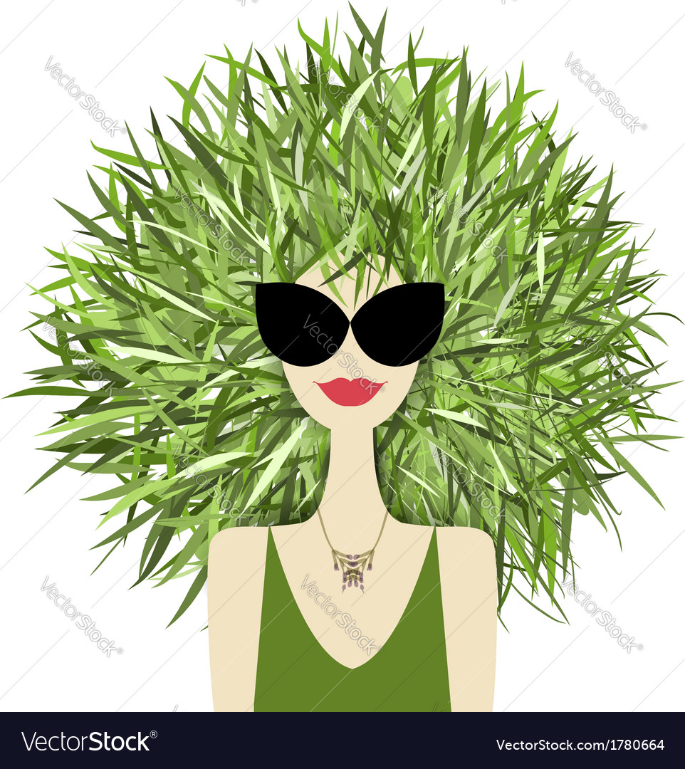 Female face with green grass hairstyle for your vector | Price: 1 Credit (USD $1)