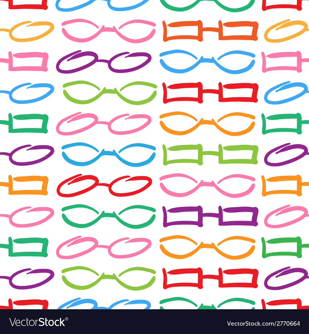 Glasses and sunglasses colorful seamless pattern s vector | Price: 1 Credit (USD $1)
