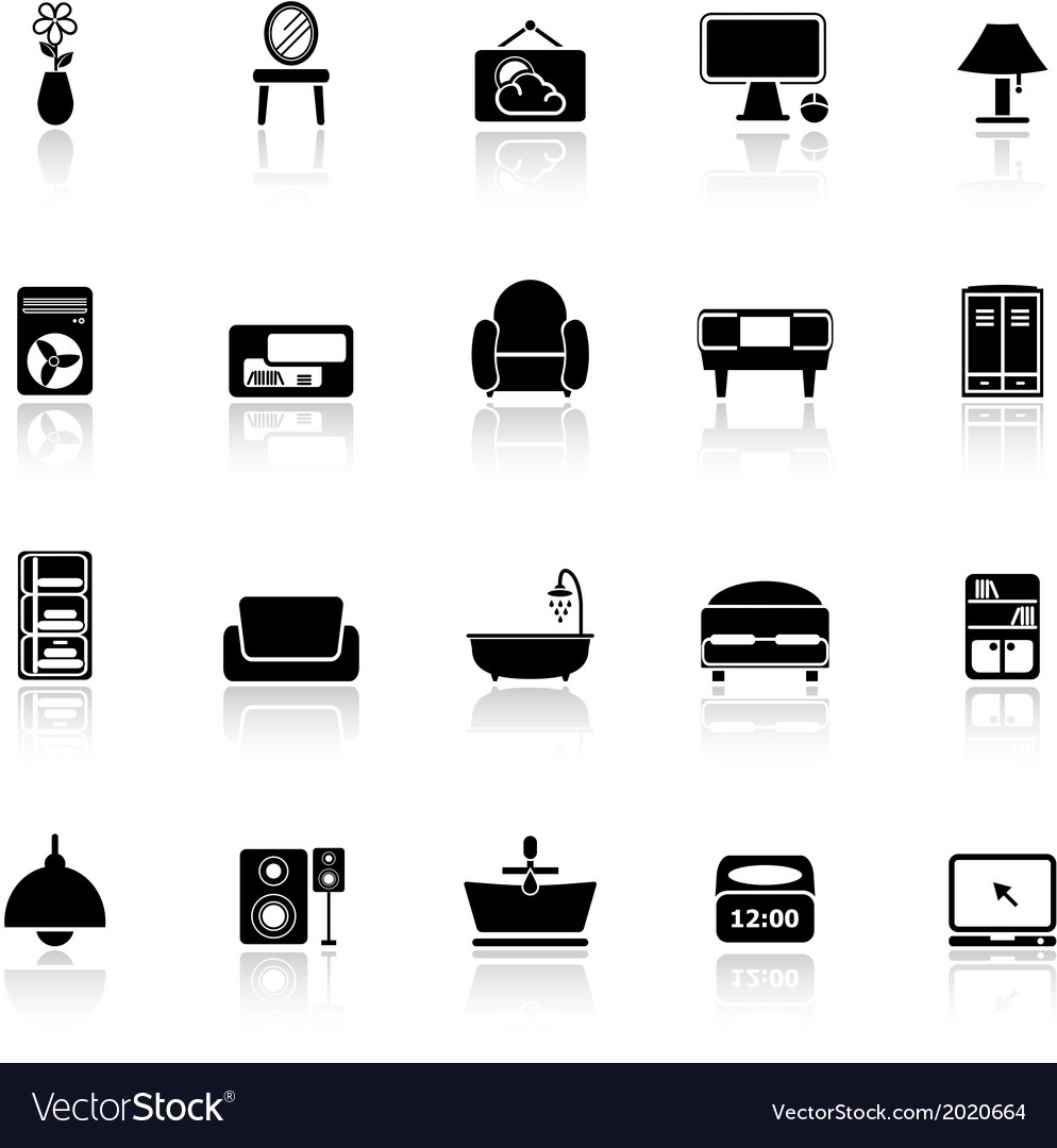 Home furniture icons with reflect on white vector | Price: 1 Credit (USD $1)