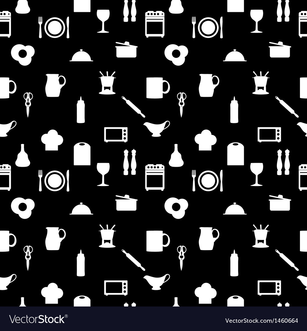 Kitchen tools icons silhouette seamless pattern vector | Price: 1 Credit (USD $1)