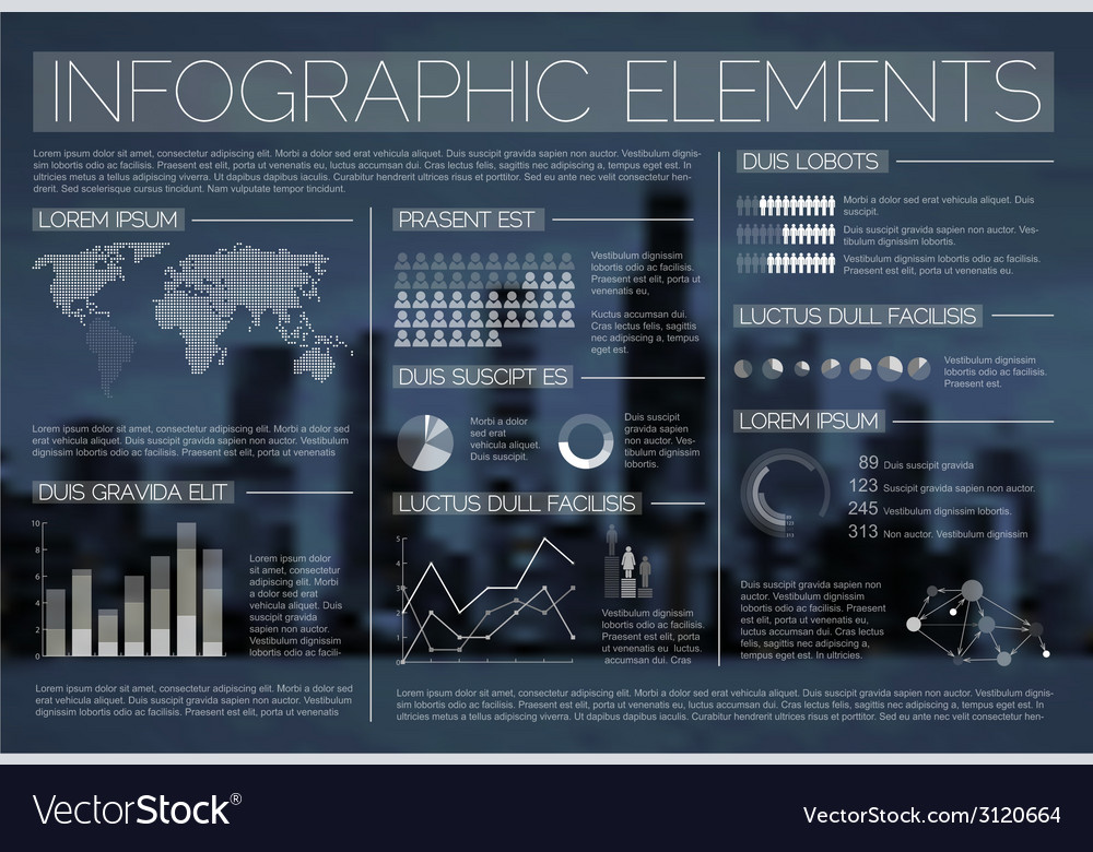 Night transparent set of infographic elements vector