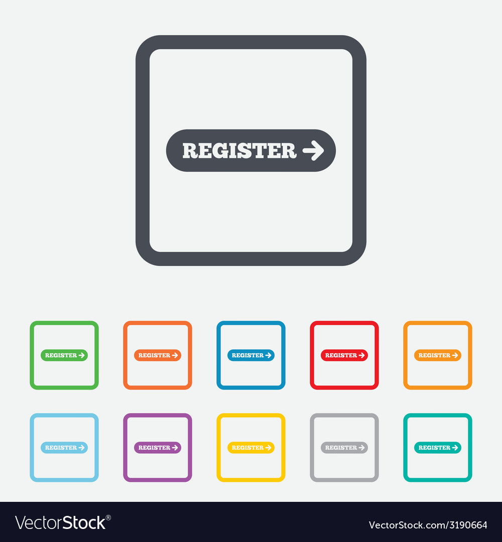 Register with arrow sign icon membership symbol vector | Price: 1 Credit (USD $1)