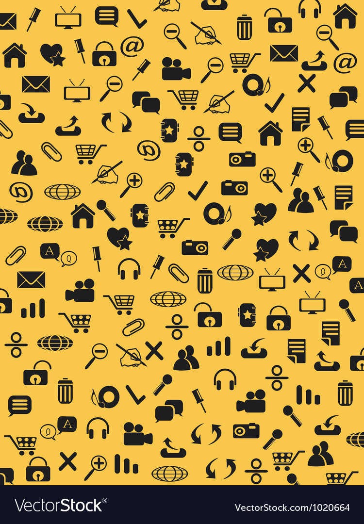 Seamless web icons pattern on yellow background vector | Price: 1 Credit (USD $1)