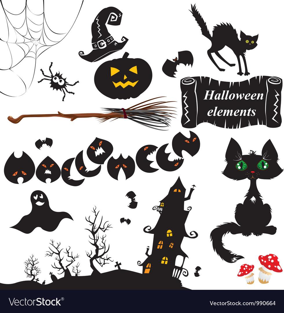 Set of halloween elements vector | Price: 1 Credit (USD $1)