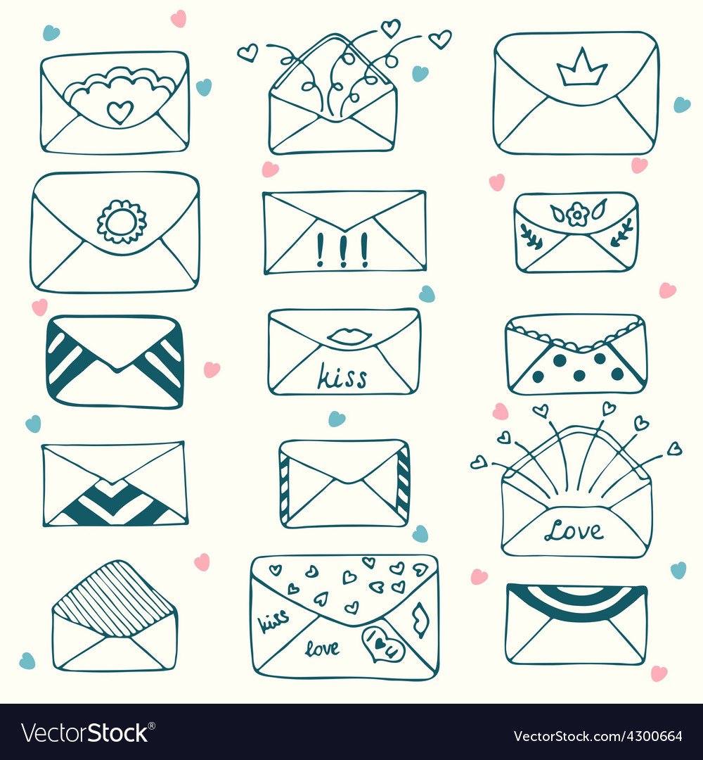Sketch style mail message or envelope hand drawn vector | Price: 1 Credit (USD $1)