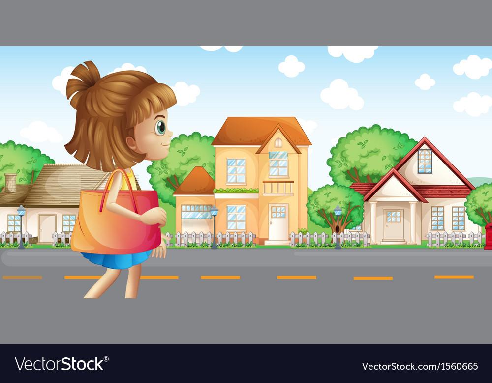 A girl walking across the neighborhood vector | Price: 3 Credit (USD $3)
