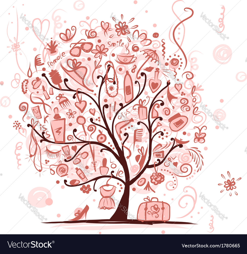 Art tree with female accessories for your design vector | Price: 1 Credit (USD $1)