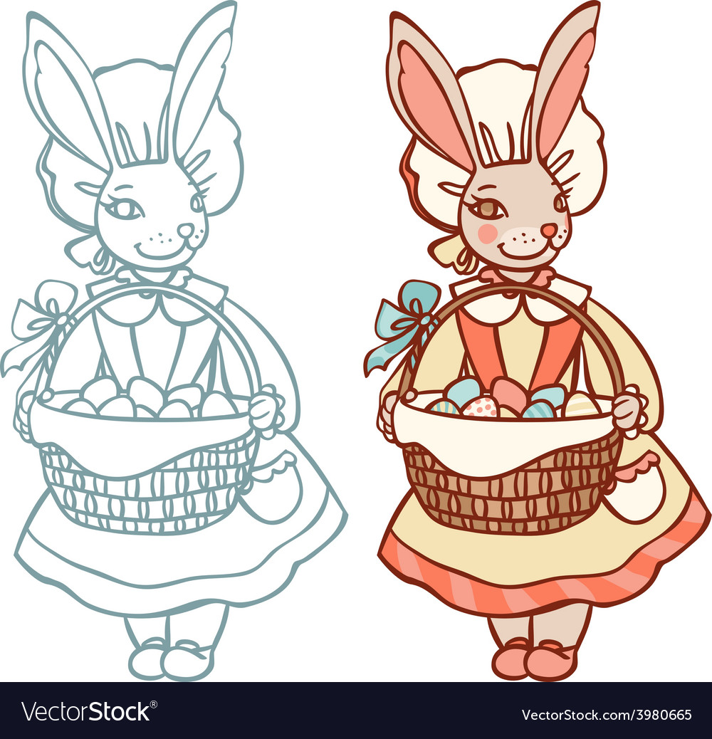 Bunny with a basket of easter eggs vector | Price: 1 Credit (USD $1)