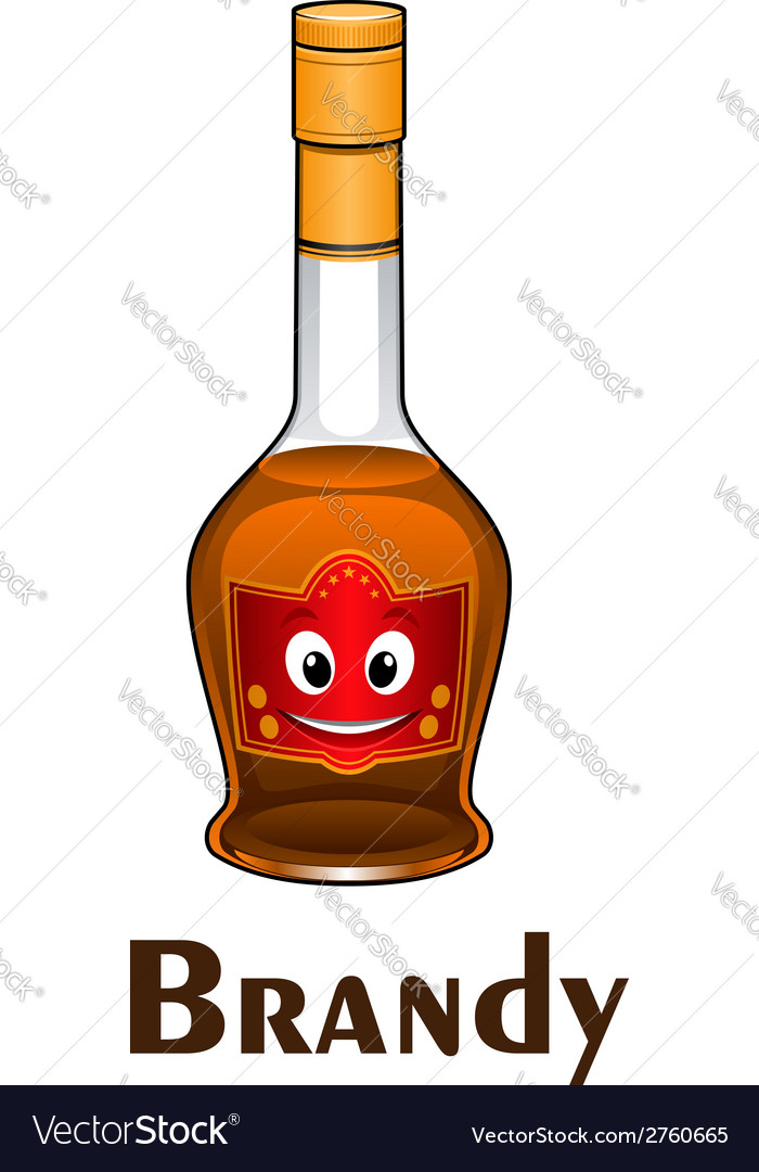 Cartoon smiling brandy bottle character vector | Price: 1 Credit (USD $1)