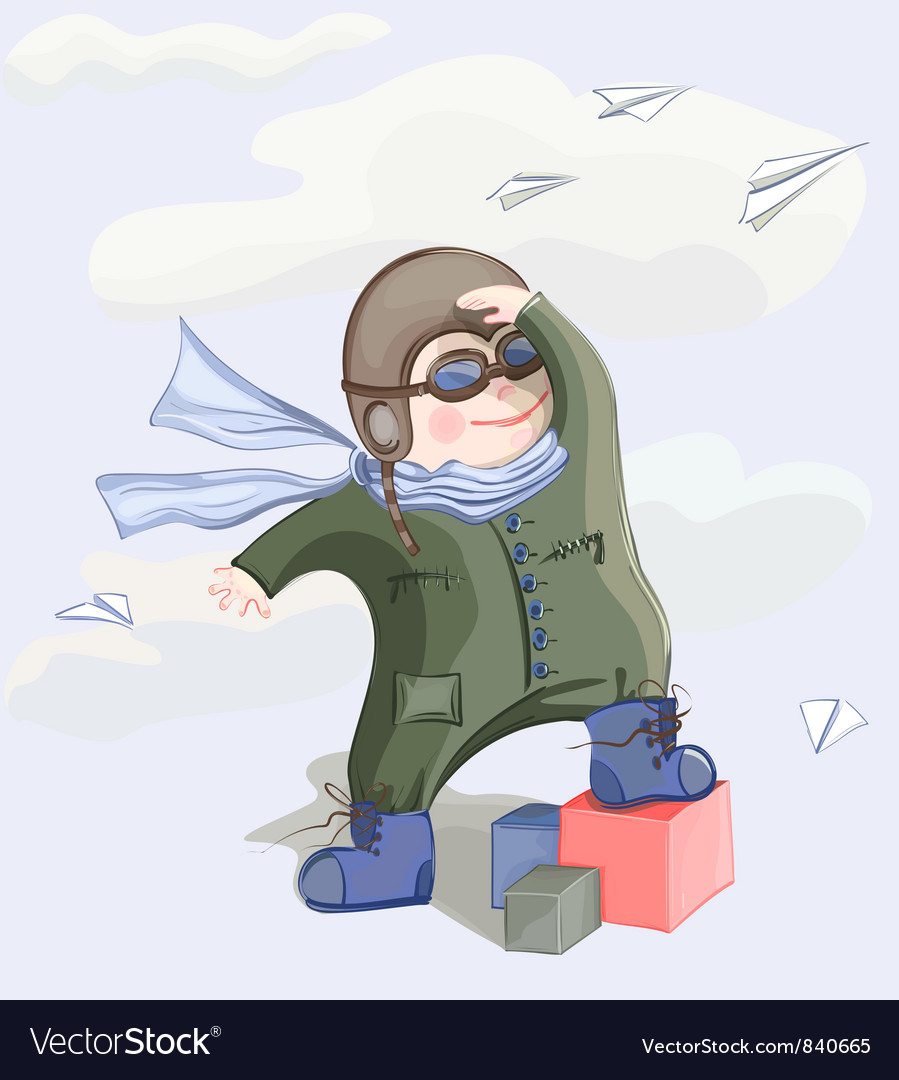 Little pilot boy vector | Price: 3 Credit (USD $3)