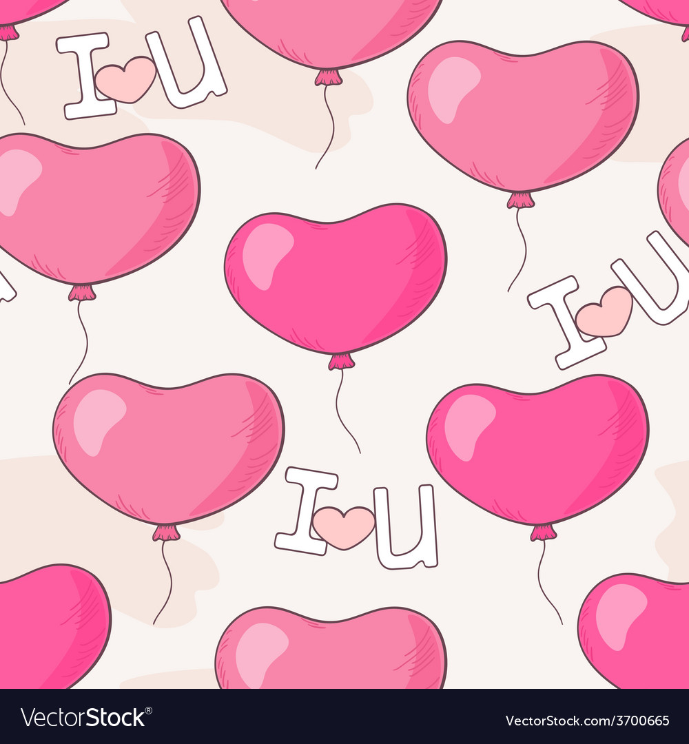 Seamless pattern with pink heart balloons and lett vector | Price: 1 Credit (USD $1)