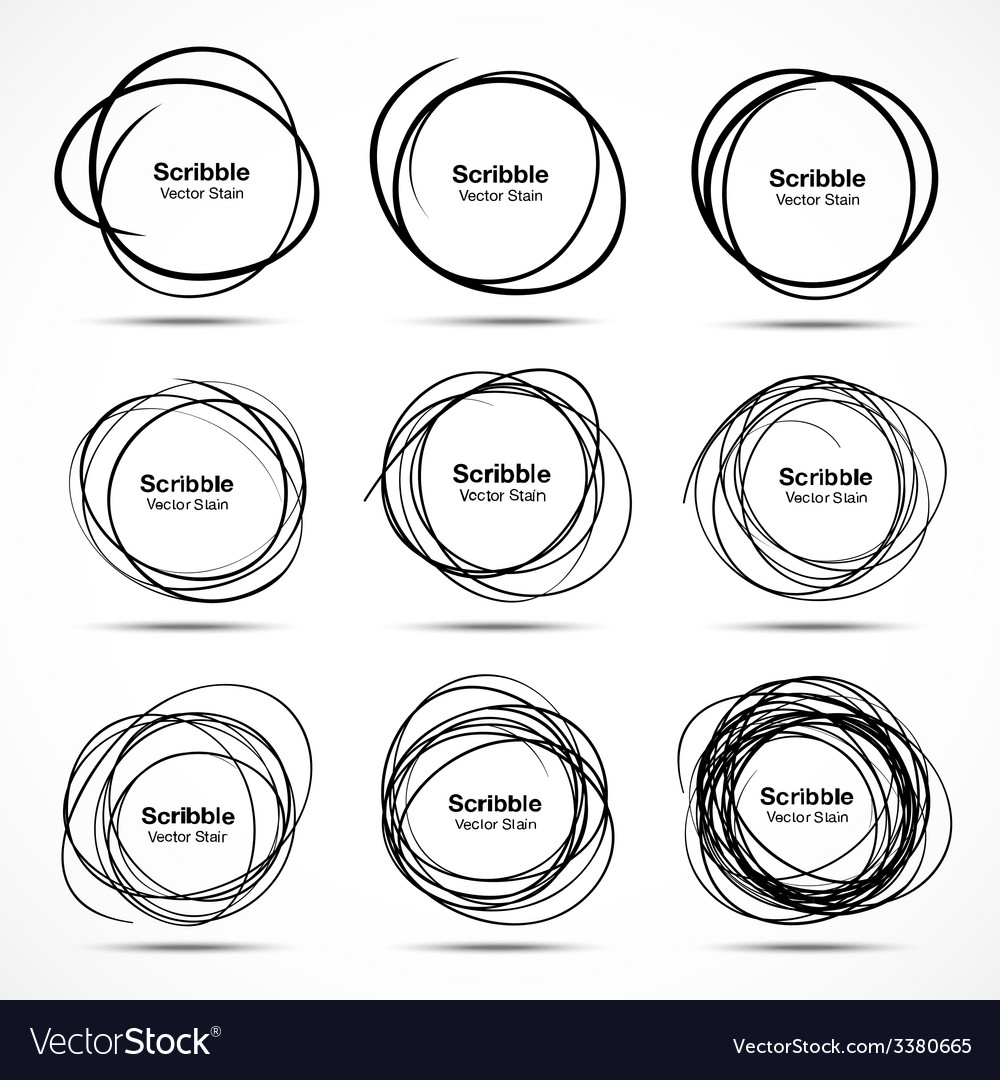 Set of 9 hand drawn scribble circles design elemen vector | Price: 1 Credit (USD $1)