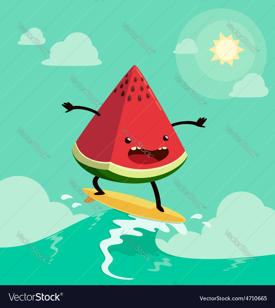 Surfing watermelon vector | Price: 3 Credit (USD $3)