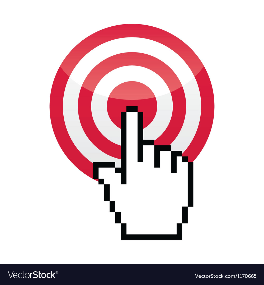 Target with cursor hand vecotr icon vector | Price: 1 Credit (USD $1)