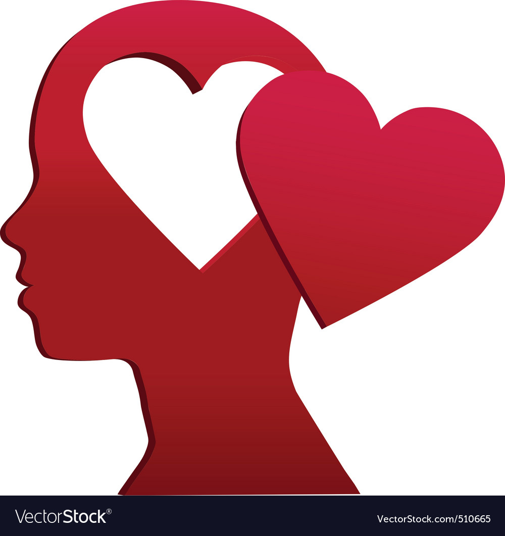 Valentine girl heart head love mind space vector | Price: 1 Credit (USD $1)