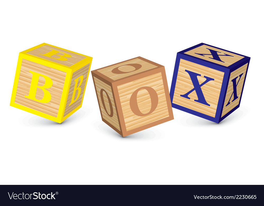 Word box written with alphabet blocks vector | Price: 1 Credit (USD $1)