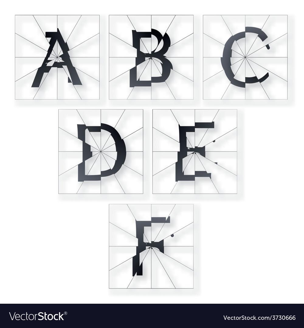 Broken letters alphabet vector | Price: 1 Credit (USD $1)