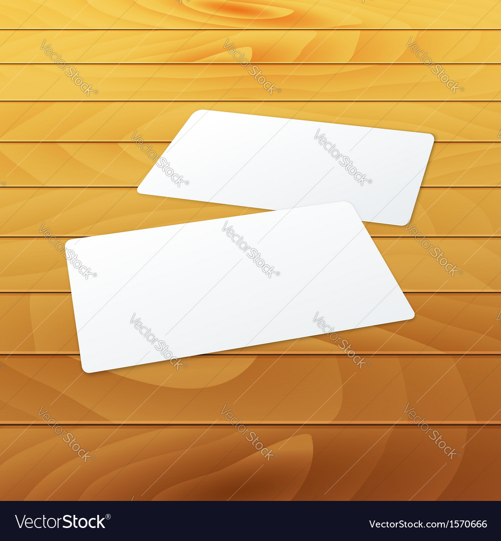 Business cards blank mockup template on wood vector | Price: 1 Credit (USD $1)