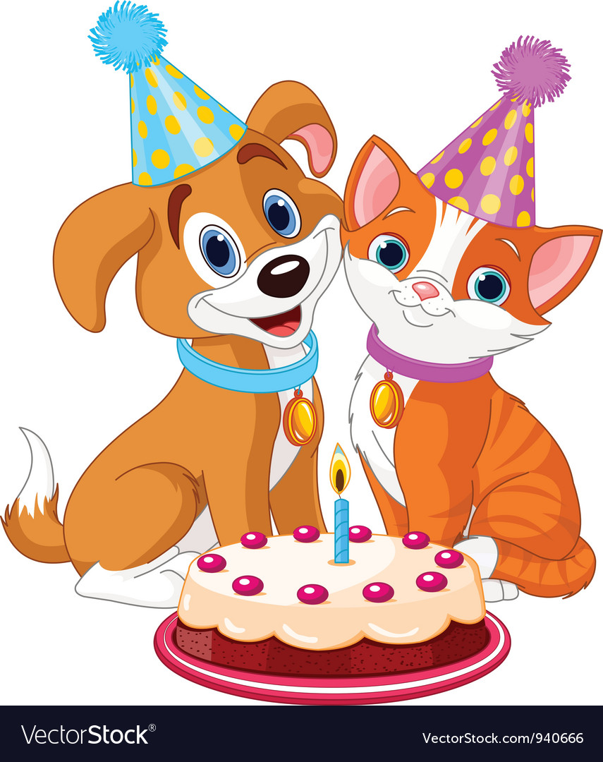 Cat and dog celebrating vector | Price: 3 Credit (USD $3)