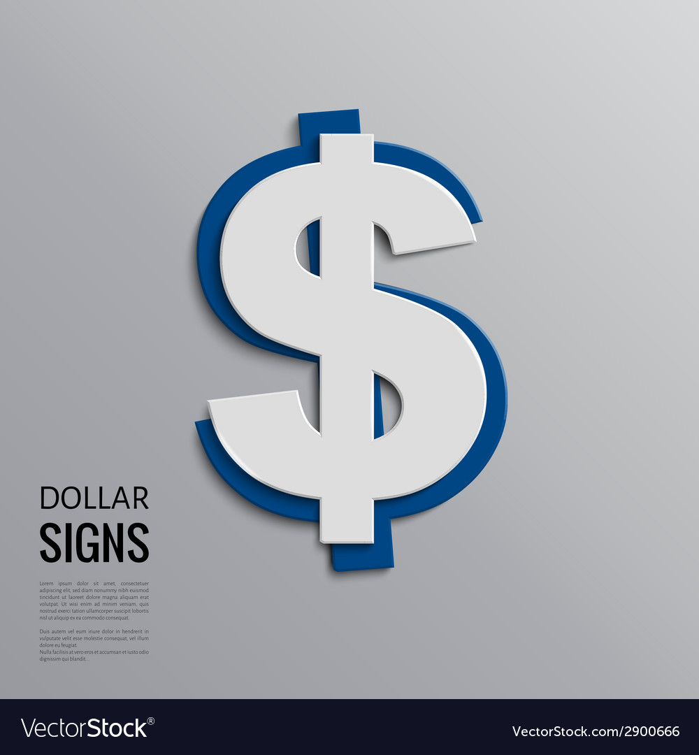 Dollar sign on grey background vector | Price: 1 Credit (USD $1)