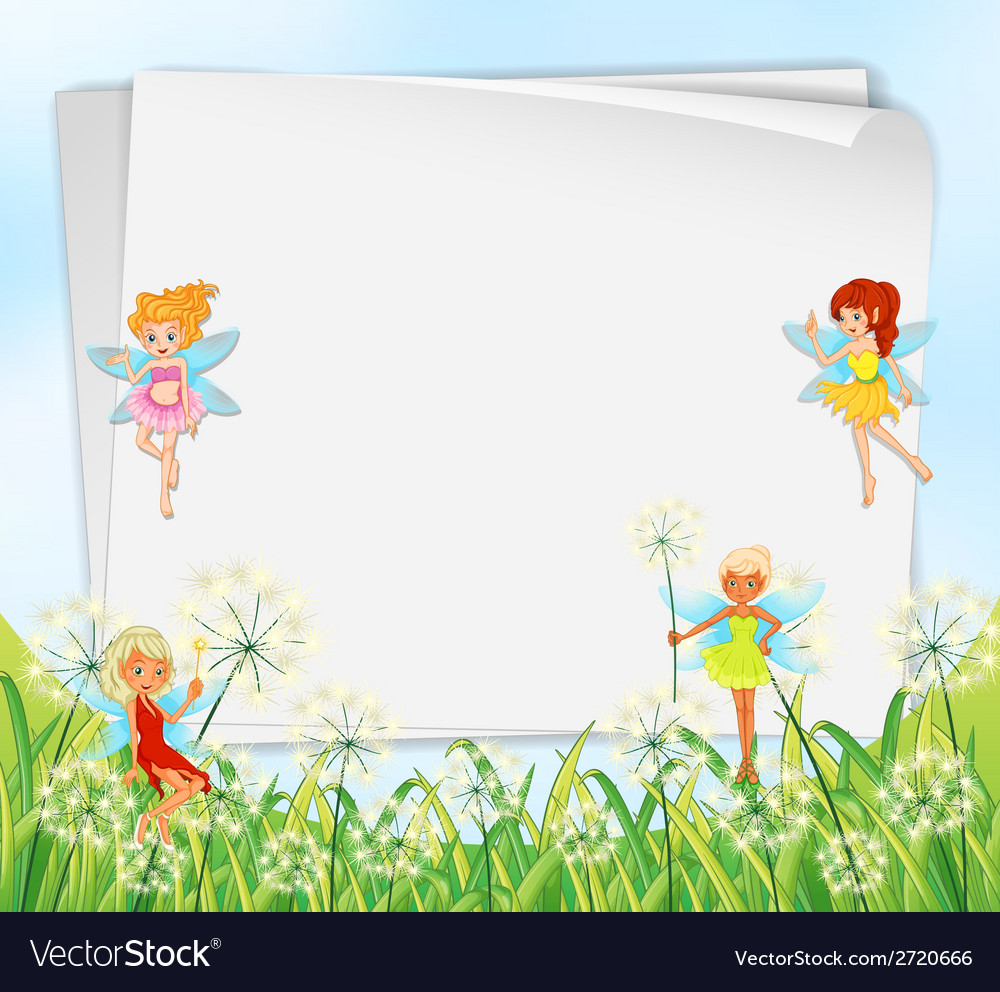 Empty paper templates with fairies vector | Price: 1 Credit (USD $1)