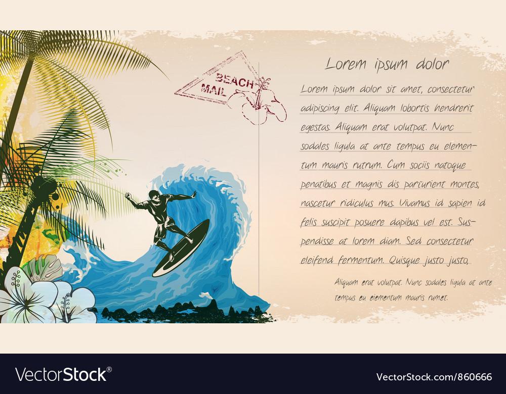 Grunge summer postcard vector | Price: 1 Credit (USD $1)