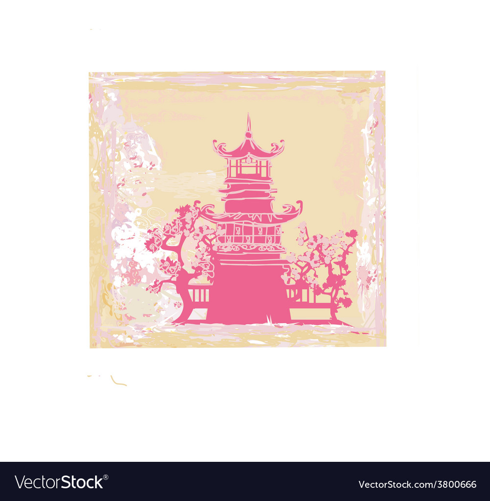 Old paper with chinese temple on abstract asian vector | Price: 1 Credit (USD $1)