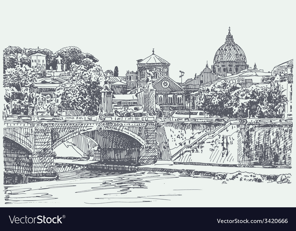 Original sketch drawing of rome italy cityscape vector | Price: 3 Credit (USD $3)