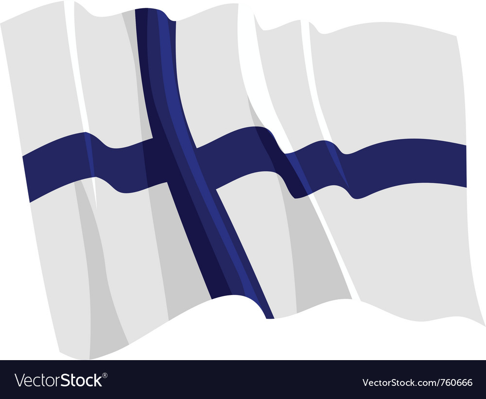 Political waving flag of finland vector | Price: 1 Credit (USD $1)