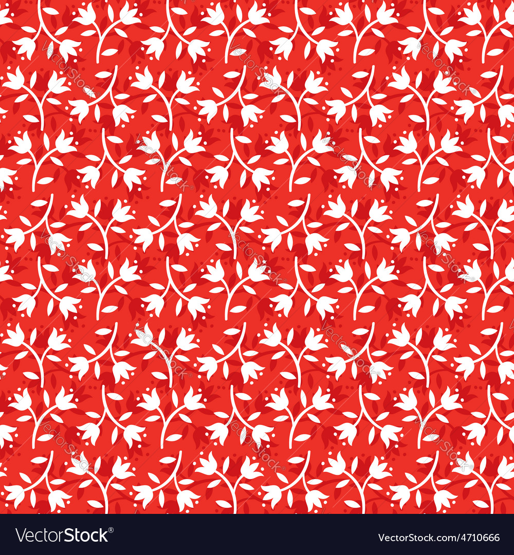 Seamless floral pattern white flowers on red vector | Price: 1 Credit (USD $1)