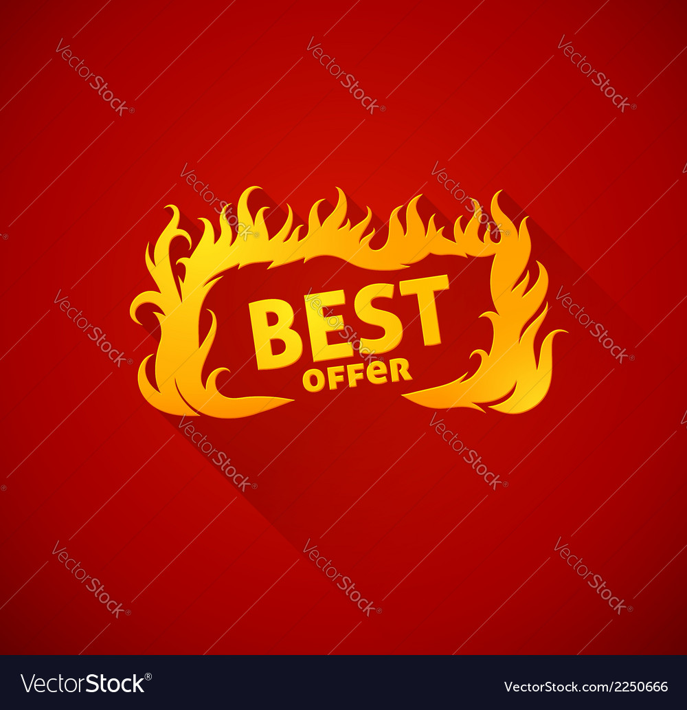 Sign best offer with burning vector | Price: 1 Credit (USD $1)