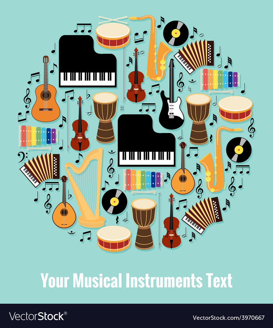 Assorted musical instruments design with text area vector | Price: 1 Credit (USD $1)