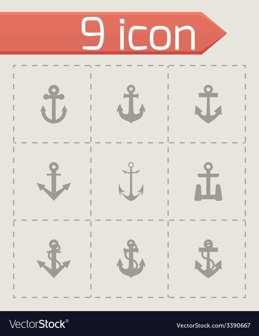 Black anchor icon set vector | Price: 1 Credit (USD $1)