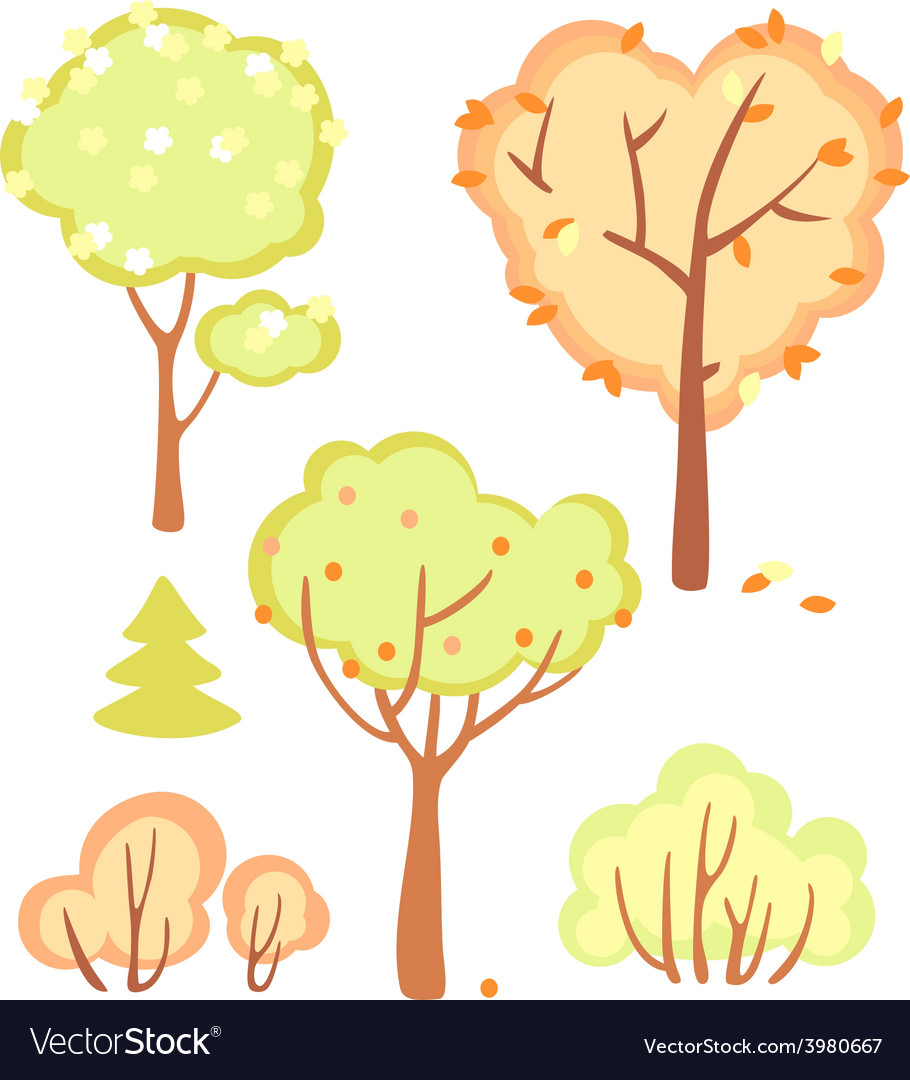 Cute set of bushes and trees vector | Price: 1 Credit (USD $1)