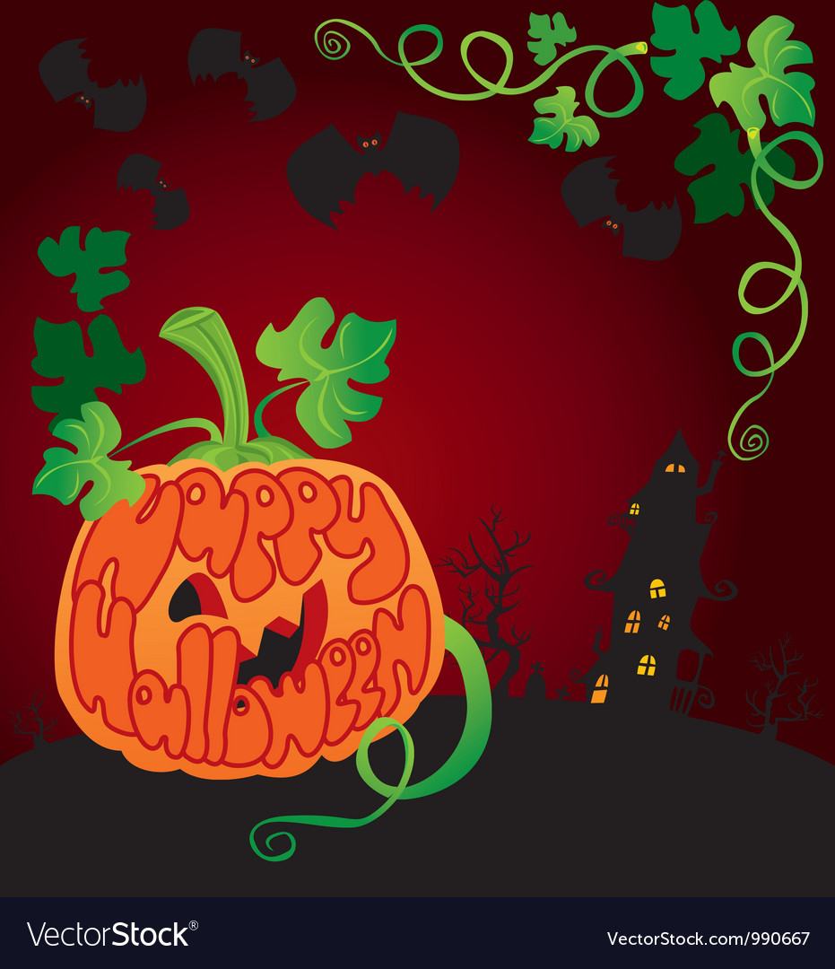 Halloween frame with pumpkin vector | Price: 1 Credit (USD $1)