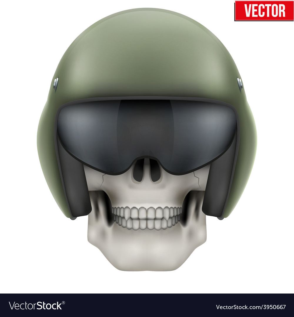 Human skull with aircraft marshall helmet vector | Price: 1 Credit (USD $1)