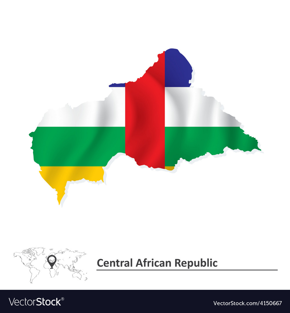 Map of central african republic with flag vector | Price: 1 Credit (USD $1)